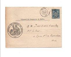 SAGE SUR PLI DE BELLEY AIN DU 21/3/1890 - Marcofilia (sobres)