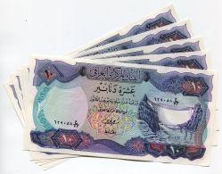 RARE IRAQ / IRAQI 1973 10 DINAR P 65 UNC  X 5 PIECE LOT - RARE BANKNOTES MONEY - Iraq