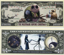 THE NIGHTMARE BEFORE CHRISTMAS 1 MILLION DOLLARS CHRISTMAS COLOR NOVELTY MONEY - United States Of America