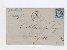 Sur Lettre. Type Céres 25 C. Bleu Oblitéré. (573) - Marcophilie (Lettres)