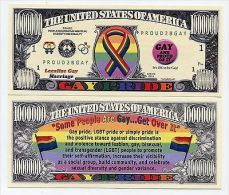 GAY PRIDE 2012 1 MILLION DOLLARS COLOR NOVELTY MONEY NOTE - United States Of America