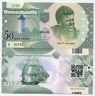 UNITED STATES MASSACHUSETTS 50 DOLLARS 2014 6TH STATE POLYMER KENNEDY UNC - USA - United States Of America
