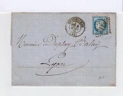 Sur Lettre. Type Céres 25 C. Bleu Type II Oblitéré Losange Gros Chiffres. (574) - Marcophilie (Lettres)
