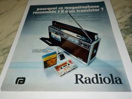 ANCIENNE PUBLICITE TRANSISTOR DE RADIOLA  1972 - Affiches & Posters