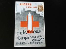 JOURNEE DE LA CROIX ROUGE  -  ANGERS 1947  - - Postmark Collection (Covers)