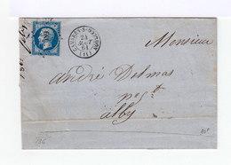Sur Lettre. Napoléon III 20 C. Bleu Oblitération Losange. Cachet à Date Camares Sur Dourdon. (576) - Marcophilie (Lettres)