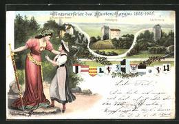 Lithographie Baden, Château Stein, Habsburg, Laufenburg, Helvetia Et Magd - AG Argovie