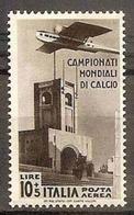 1934 Italia Italy Regno AEREA CALCIO  SOCCER 10L + 5L Bruno Nero Di P.A. (A 72) MNH** Air Mail - Fußball-Weltmeisterschaft