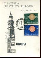 35735 Italia, Special Card  And Postmark  Mirano 1960 First European Philat. Exhibition, 1^ Mostra Filatelica - Otros