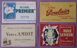 Buvard Lot 9 Buvards Prefontaines - Gervais - Baignol Et Farjon Roule Tabille - Viandox - Plan Marshall - Les Vins - Buvards, Protège-cahiers Illustrés
