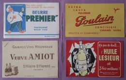 Buvard Lot 8 Buvards  Beurre Premier - Poulain - Veuve Amiot - Huile Lesieur - Scotch - Postillon - Saumur - Papel Secante