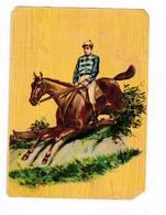 Jolie Chromo Non Publicitaire Papier Glacé, Fin XIXe Siècle, Hippisme, Saut D'obstacle, Jockey - Equitation