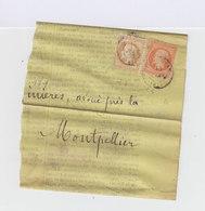 Sur Imprimé Type Napoléon III 40 C. Et Napoléon III Lauré Bistre 15 C.  (582) - Marcophilie (Lettres)