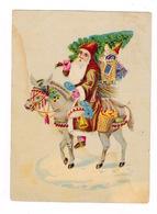 Jolie Chromo Non Publicitaire Papier Glacé, Fin XIXe Siècle, Père Noël, âne, Jouets - Weihnachtsmänner