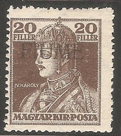 1918 - FIUME Karlo I Zita 20 Fil MNH - Croatia