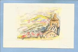 Aquarelle De Paysage Par A. Lécuyer 2 Scans 1988 Sur Papier à Dessin 12,2 Cm X 7,7 Cm - Watercolours