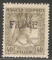 1918 - FIUME Karlo I Zita 40 Fil MLH - Croatia