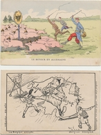 WW1 - 2 Postkaarten Met Een Spotprent Die De Duitsers Wegjagen Uit Bezet Gebied Door De Gallieerden.1916 - 1914-18