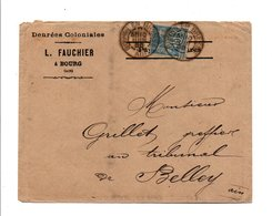SAGE SUR LETTRE A EN TETE DE BOURG EN BRESSE AIN DU 10/6/1888 - Marcofilia (sobres)