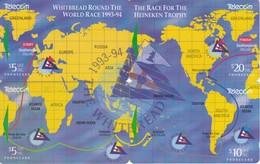 PUZZLE DE 4 TARJETAS DE NUEVA ZELANDA DEL MAPAMUNDI - RACE STAR DEL AÑO 1993 - New Zealand