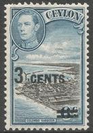 Ceylon. 1940-41 KGVI. Surcharge 3c On 6c MH. SG 398 - Ceylon (...-1947)