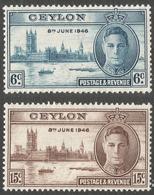 Ceylon. 1946 Victory. MH Complete Set. SG 400-401 - Ceylon (...-1947)