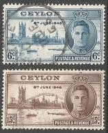 Ceylon. 1946 Victory. Used Complete Set. SG 400-401 - Ceylon (...-1947)