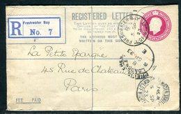 Royaume Uni - Entier Postal En Recommandé De Freshwater Bay En 1923 Pour La France - Entiers Postaux