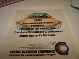 ANCIENNE PUBLICITE  CENTRE OCCASION PEUGEOT   1974 - Cars