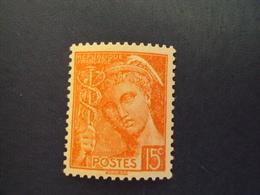 "1938-timbre Neuf N° 408 A -orange Pâle -  Type Mercure    "" 15c    ""   Côte 0.50   Net          0.15 - 1938-42 Mercure"
