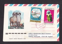Mongolia: Airmail Cover To UK, 1989, 2 Stamps, Cactus Flower, Antarctica, Penguin, Rare Real Use (traces Of Use) - Mongolië