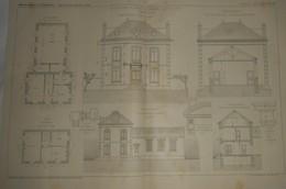 Plan D'une Ecole Mixte Et Mairie à Orcemont. Seine Et Oise. M. Trubert, Architecte. 1911 - Public Works