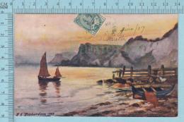CPA Voyagé 1907 - Raphael Tuck Aquarette,  - R.E. Richardson, Susset Sleephill Cove Ventnor #6264 - Stamp CND #89 - Tuck, Raphael