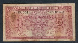 BELGIO Belgique 5 FRANCS 1943 LOTTO 496 - [ 2] 1831-... : Belgian Kingdom