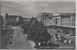 Geneve - Place De Cornavin, Eglise De Notre-Dame, Oldtimer, Animee - GE Genève