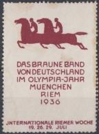 F-EX3606 GERMANY DEUTSCHLAND CINDERELLA 1936 Deutschland HORSE Poster 45x62mm. - Alemania