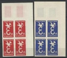 1958 Francia France EUROPA  CEPT EUROPE Varietà 'Non Dentellato' 4 Serie Di 2v.  MNH** In Quartina Angolare - Europa-CEPT