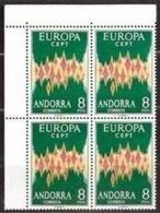 1972 Spanish Andorra Andorre EUROPA CEPT EUROPE Quartina Angolare MNH** Block-4 - 1972