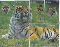PUZZLE DE 8 TARJETAS DE CHINA DE UN TIGRE (TIGER) - Tarjetas Telefónicas
