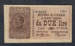 2 Lire Buono Di Cassa Serie 130 17 10 1921 Bb/spl LOTTO 498 - [ 1] …-1946 : Royaume