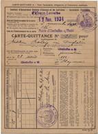 Carte-Quittance Institut D'Assurance Alsace-Lorraine,Mairie D'Oberhoffen S/Moder,12.11.34 (4scans) - Historical Documents