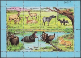 F-EX3965 CONGO 1993 MNH IMPERFORATED SPECIAL SHEET CEBRA AVES BIRD LION - Other
