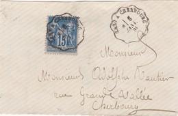 FRANCE  Devant De Lettre  Cachet Convoyeur   Caen à Cherbourg  1884 - Marcophilie (Lettres)