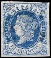 """* 59. 12 Ctos. Variedad Por Rotura En Punto Y """"""""r"""""""" De Correos"""""""". Bonito. - 1850-68 Kingdom: Isabella II"""