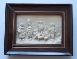 - Ancien Tableau. Bas Relief En Calcaire Pétrifié. Berger Et Ses Moutons - - Unclassified