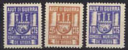 SITGES. ** 1/3 (Sofima). Ajut De Guerra. 5, 5 Y 10 Cts. - Spanish Civil War Labels