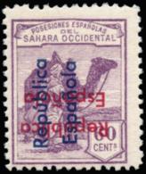 SÁHARA. ** 44. Tipo VI. Sobrecarga Horizontal Invertida (roja) Y Vertical De Abajo Hacia Arriba (azul). Raro. - Spanish Sahara