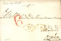 D.P .3. 1837. Carta De Soria A Ocaña. Marca P.E. 20. Proteo 6. - Espagne