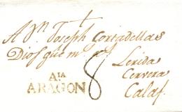 D.P. 4. 1805. Carta De Almunia A Calaf. Marca Nº 2. - España