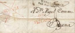 """D.P. 11. Carta Circulada De Bermeo A Bayona. Marca """"""""Bª Vizcaya"""""""" En Rojo Y Espagne Par Bayonne En Negro. Al Dorso, - España"""